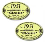 PAIR Distressed Aged Established 1951 Aged To Perfection Oval Design Vinyl Car Sticker 70x45mm Each